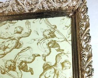 ORNATE METAL FRAME 8x10 White Washed Gold Picture Frame Table Top Frame Wedding Decor Vintage Gold Frame