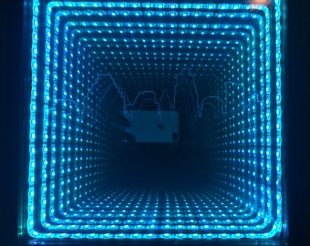 Infinity Mirror Engraved Austin Skyline - Multicolor Remote Controlled
