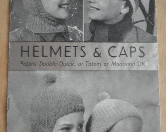 Helmets and Caps 1950's knitting booklet, original not pdf, P & B wools 385, childrens knitted hat patterns, balaclava pattern