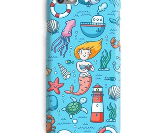 Mermaid iPhone Case, Octopus iphone case, Ocean iphone 6 case, Under Sea iphone 6 case, Water iphone 6s case, Cute iphone case