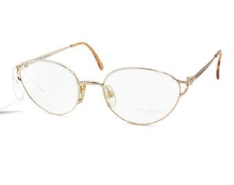 Trussardi glasses oval frame // Vintage 1970s designer eyewear pale golden // Trussardi logo temples // New Old Stock