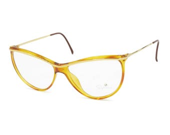 SAPHIRA mod. 4176 woman half lunettes mask glasses // Lightweight acetate glasses caramel tones // New Old Stock 1980s