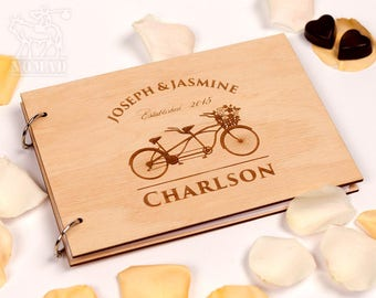 Custom Wedding Guest Book, Wood Rustic wedding guest book, Just Married Book, Tandem Bike, Engraved guestbook, Custom Wedding Album, Wedding