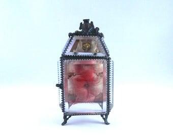 Vintage Late 1800s Beveled Glass Pocket Watch Case...French Art Nouveau...Pocket Watch Holder...Metal Footed Ornate Detail...Velvet Cushion