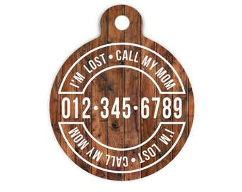 I'm Lost Pet Id Tag, Call My Mom Collar Tag, Custom Contact Tag for Pets, Trendy Small Dog Tag, Lost Cat Id Tag, Lost Pet Identification Tag