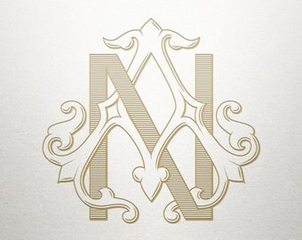 Vintage Monogram Letters - AN NA - Vintage Monogram - Digital