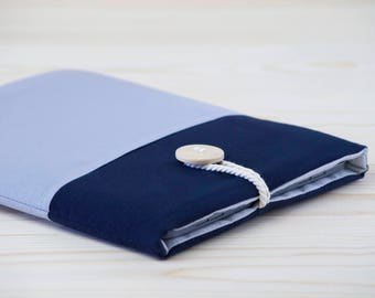 fabric ipad case - padded ipad sleeve - ipad air 2 case- ipad air case - dark blue with grey pocket