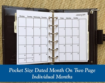 Printed Pocket Size Month On Two Page Planner Inserts - Individual Months