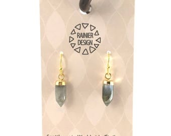 """Labradorite """"Bullet"""" Tiny Crystal Point Edgy Gold Spike Drop Hook Earrings - Dainty Minimalist Dangle Natural Faceted Semiprecious Gemstones"""