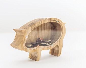 SMALL piggy bank - Wooden money box - Wooden money bank - Collectible coin box - Small pig money box - Baby money bank - Kids money box