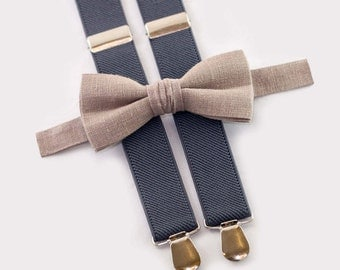 light brown bow tie & gray suspenders, father son matching ties, matching outfit for father son