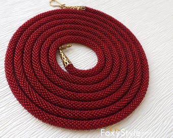 Red bead necklace Red necklace crochet jewelry red gift gift women mom gift valentine gift long necklace rope elegant jewelry beadwork gift