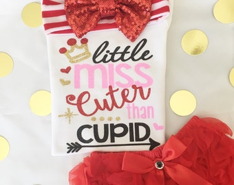 Valentines tee for girls/Little Miss cuter than cupid/ Valentines outfit/ baby girl onesie/ sweet sparkle