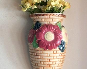 Vintage wall pocket home decor flower wall mount vase