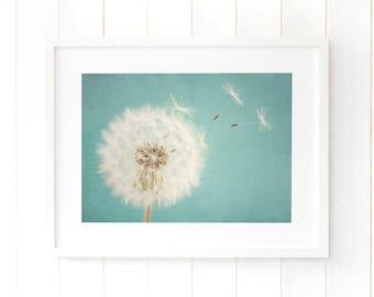 Dandelion seeds nursery wall artwork, duck egg blue nursery decor, dandelion clock wall art, dandelion art print, baby boy nursery ideas