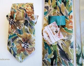 Mens tie Silk Necktie Hand Painted Blue Mens Neckties Groomsman tie Silk Satin tie Mens Gifts Handpainted Tie Mens gifts Dark Ocher flowers