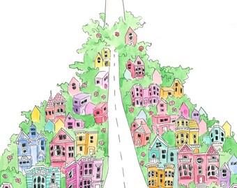 Coit Tower San Francisco Illustration Art Print 5x7