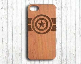 Captain America iphone 7 case  Wood iphone 6s case  Personalized iphone 7 plus case  Custom initials  wooden iphone 6 case  iphone skin