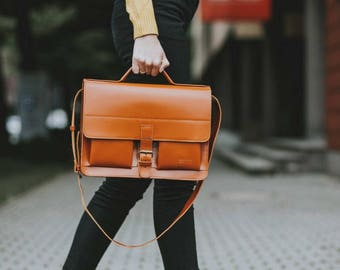 Leather Satchel Bag, handmade - Whisky Brown, Laptop handbag shoulder bag // Handgeschneiderte Handtasche Satchel Bag Whisky Braun