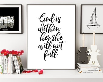 God Is Within Her She Will Not Fall, Psalm 46:5, Bible Verse Printable, Nursery Wall Art, Christian Wall Art, Christian Gift,Scripture Print