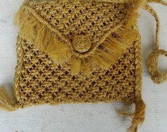 Wicker woven cross body bag with tassels vintage wicker Crossbody Bag Women Hippie bag shoulder bag womens purse Handmade Vintage