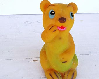 Baby bear toy squeaky rubber toy soft rubber toy wild animal toy small animal Vintage 1950s Made in Spain