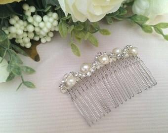 Bridal Comb - Wedding Comb - Winter Wedding - Bridal Hair Comb - Hair Accessory - Diamante Hair Comb - Vintage Look - 1920's - 1930's