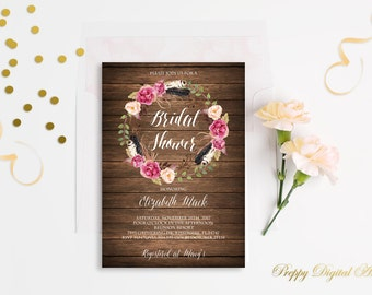 Floral Wreath Bridal Shower Invitation Rustic Bridal Shower Invite Bohemian Bridal Shower Rustic Bridal Shower Boho Invite Digital File