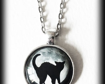 Black Cat Necklace with Full Moon, Hellcat, Silhouette, Gothic Witch Glass Cameo Pendant, Halloween Jewelry, Wicca Pagan, Gothic Gift