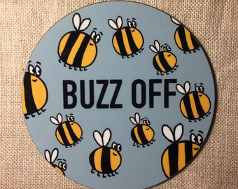 Buzz off bees high gloss raw back coaster