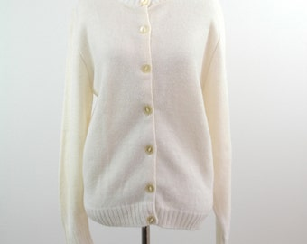 60s Cream Cardigan - Button Up Acrylic Sweater - Size Medium