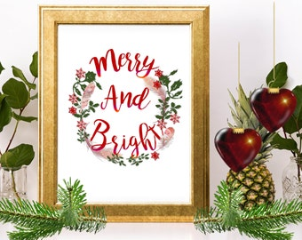 SALE! Merry and Bright Sign, Merry and Bright, Holiday Printable, Holiday Prints, Holiday Wreath, Holiday Decor, Christmas Wreath, Merry