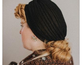 "Vintage style turban - The ""Lana"" - 1940s style lurex sparkle glitter turbans, glamorous pin up style -  BLACK"