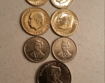 7 haiti vintage coins 1958 - 1995 coin lot centimes  - world foreign collector money numismatic a35