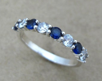 Sapphire And Diamond Eternity Band, Sapphire Eternity Wedding Band, Sapphire And Diamond Wedding Ring, Diamond And Sapphire Wedding Ring