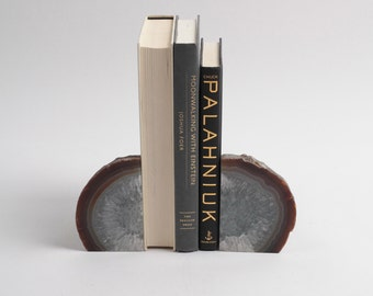 Crystal Bookends (nabe851) - Agate Book Ends - Geode Office Decor - Natural Stone Decorations - Natural Agate Home Decor - Geode Bookends