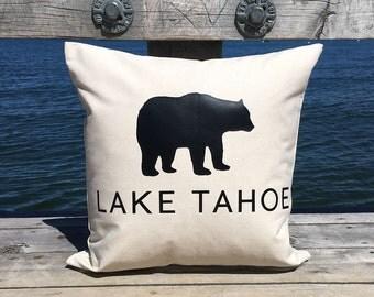 Lake Tahoe Bear 18 x 18 Canvas Pillow      Black or Brown Bear