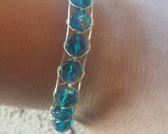 0087-Sea Blue Crystal Bracelet