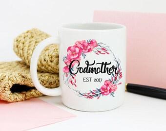 Godmother mug, godparent mug, godmother gift, fairy,  godmother, reveal, announcement, floral, personalised mug, ceramic, coffee mug