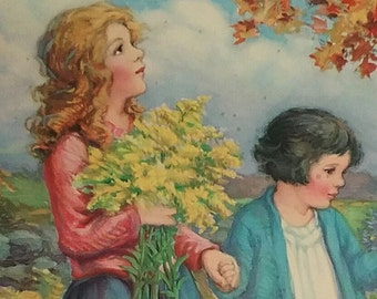 Vintage 1939 Sunday School ART. gorgeous lithograph of girls in Autumn  World Full of Beauty