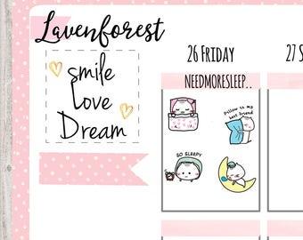 sleep planner sticker, planner sticker sleep, alarm sticker, sleepy sticker, kitty sticker, cute planner sticker, hand drawn planner, MM009