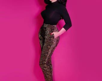 PRE-ORDER - Cigarette Pants - Wild Leopard Print