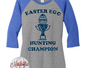 Easter Egg Hunting Champion, Happy Easter, Women's Baseball Raglan 2 Tone 3/4 Sleeve Shirt in Sizes Small-4X, Plus Size