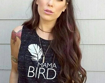 MAMA BIRD, Black or White Marble Muscle Tank