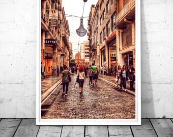 Athens Print, Greece wall art, Ermou Street, Greece photography, street photography, Greece Print, City Photography, Digital download