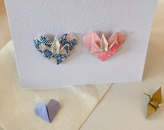 Valentine's Day, Wedding, Anniversary Origami Crane Heart Card