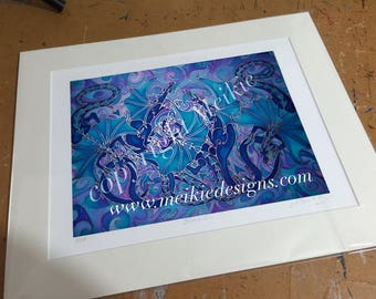 Dragon Wall Art - Dragon Family Silk Painting Print - Fantasy Dragons Bedroom Decor - Blue & Violet Mythical Creatures - Dragon Lover Gift