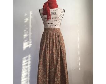 Vintage Floral Skirt, Long Floral Skirt