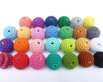Mix Crochet beads 20 PCS/ Wooden crochet beads/ Baby teething beads/ Shower gift beads/ DIY crochet beads/ Dummy clip beads/ Craft supplies