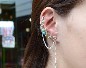 Indian earcuff, Non pierced, Bohemian ear cuff, Dainty chic earcuffs, Turquoise ear climbers, Indian earrings gift,  Blue earrings, Ear wrap